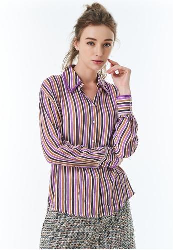 United Colors of Benetton purple Striped Crepe Shirt 4EEBCAAD902CBEGS_1