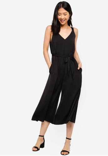 ZALORA BASICS black Basic Oversized Jumpsuit With Tie 656C4AA237DF8BGS_1