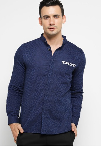 Sekouwit blue and navy Alder Kemeja Batik Lengan Panjang Modern / Long Sleeves Batik Shirt in Navy Blue SEKOUWIT FF212AA6D47507GS_1