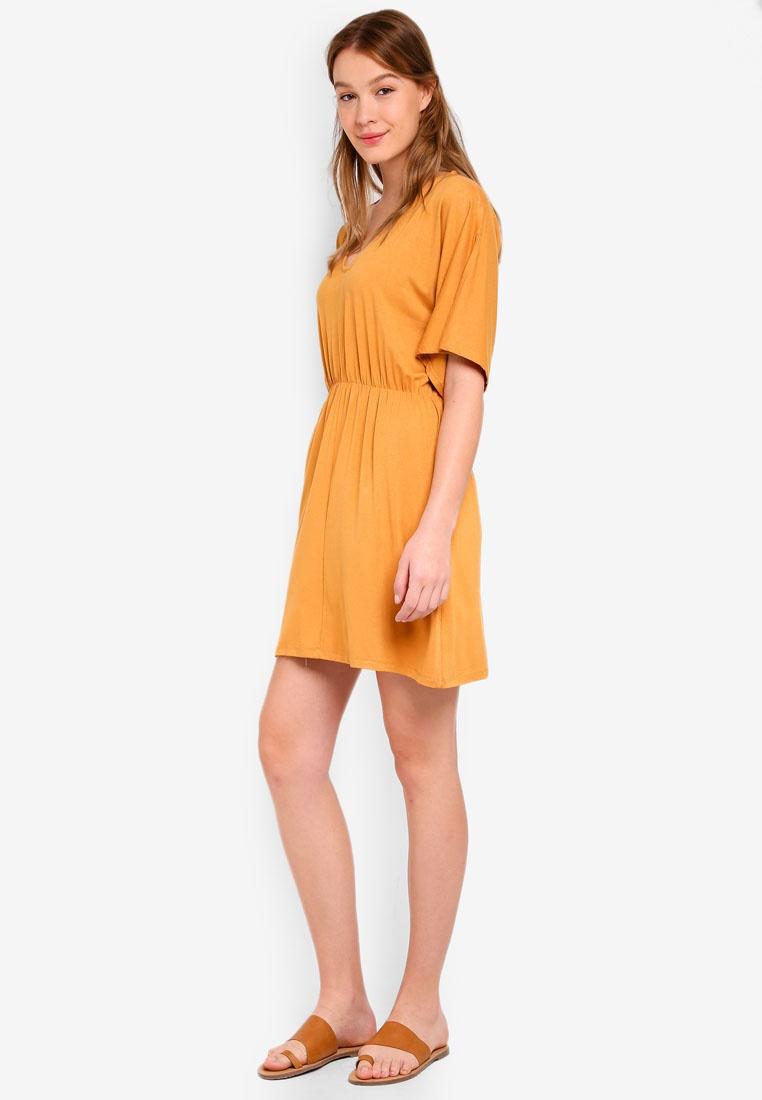 Dress Reina Yellow Cotton Spruce Fit Flare V Neck On wq1zqPIZ