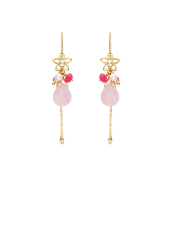 Glamorousky white 925 Sterling Silver Plated Gold Fashion and Elegant Flower Tassel Earrings with Pink Cubic Zirconia 24E32AC0359F38GS_1