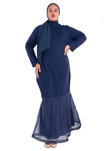CURVA FABULOUS blue Ms Lana Organza Dress F31BEAA64DF26BGS_1