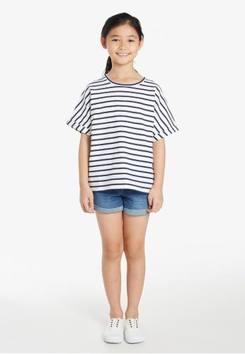 Gen Woo white Striped Over-sized  Sweat T-shirt By Gen Woo 4D264KAA8ED004GS_1
