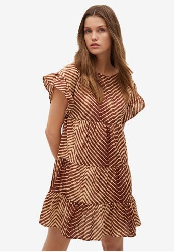 Mango brown Ruffled Printed Dress 8B9F5AA17E353BGS_1