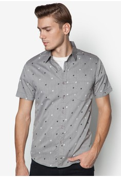 Allover Houndstooth Printed Short Sleeve Shirt