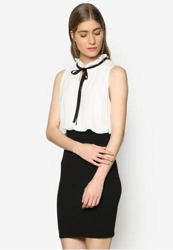 Camila 荷葉飾繫帶撞色洋裝, 服飾esprit 衣服, 洋裝
