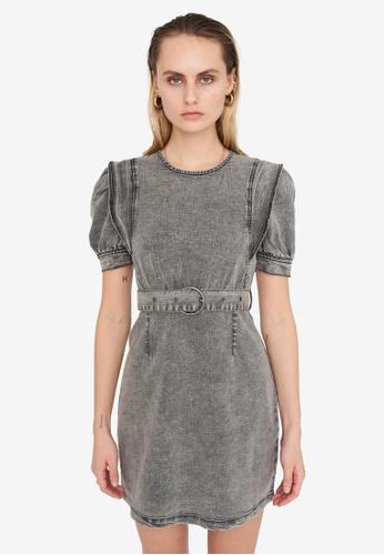 Noisy May grey Lisa Puff Sleeve Denim Dress 023CDAA4A5CC80GS_1