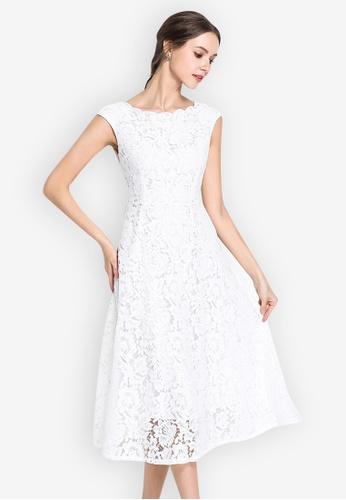 Sunnydaysweety white Lace Sweetheart Wave collar Short Sleeve One Piece Dress 70828AAABDBEC8GS_1