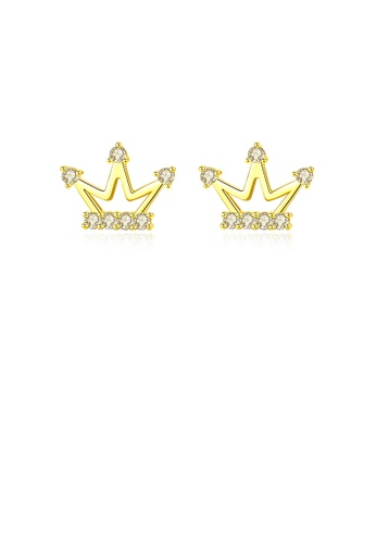 Glamorousky white 925 Sterling Silver Plated Gold Simple Fashion Crown Stud Earrings with Cubic Zirconia E699FAC07D9359GS_1