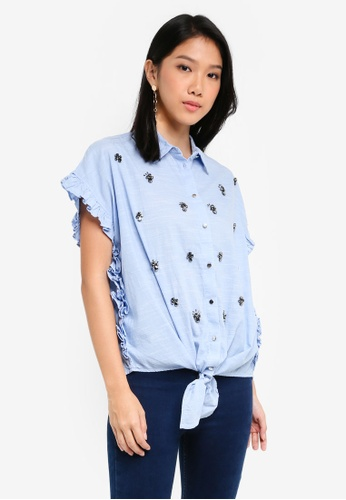 River Island blue Blue Diamante Embellished Frill Shirt DAD26AA2ADF290GS_1