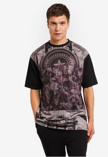 Topman black Black Star Print Mesh T-Shirt TO413AA0RMNCMY_1