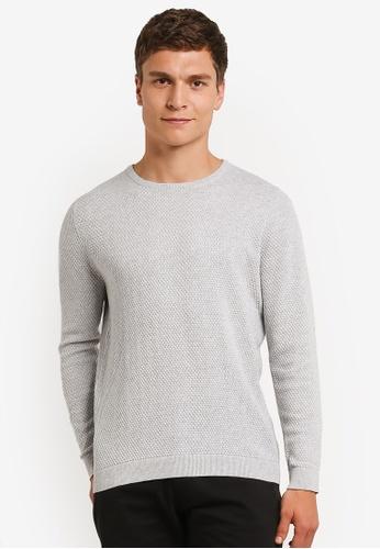Burton Menswear London 灰色 灰色 質感 圓領 毛衣 BU964AA0RM6SMY_1