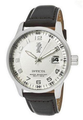 INVICTA black and silver Invicta I-Force Men 44mm Case Black Leather Strap Silver Dial Quartz Watch 12823 IN968AC0F5E4SG_1