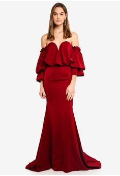 Elle Zeitoune Satin Dress With Off Shoulder Oversized Belle Sleeves RM  1 74ff8a836