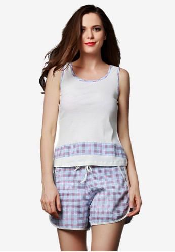 格紋背心短褲zalora開箱睡衣套裝, 服飾, 睡衣套裝