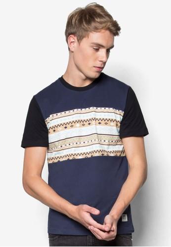印花拼接短袖Tesprit 寢具EE, 服飾, T恤