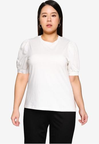 Vero Moda white Plus Size Kerry 2/4 O-Neck Top 88619AA2EB6237GS_1