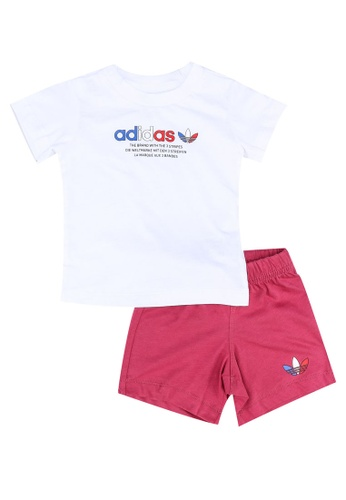 ADIDAS white adicolor shorts and tee set B24B6KA3845569GS_1