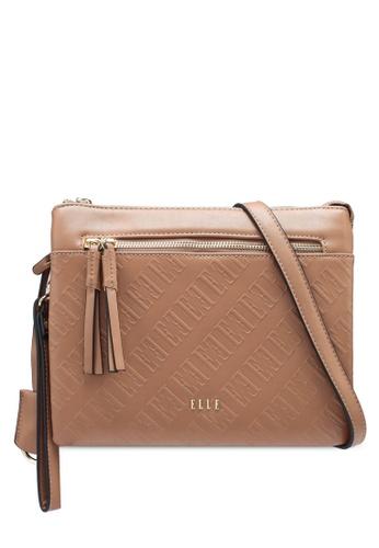 ELLE brown Monogram Sling Bag E5607AC5B0E610GS_1