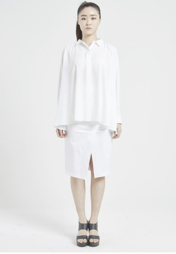 NINETEENEIGHTY white Chiffon Raglan Sleeve Shirt NI195AA04XCLSG_1