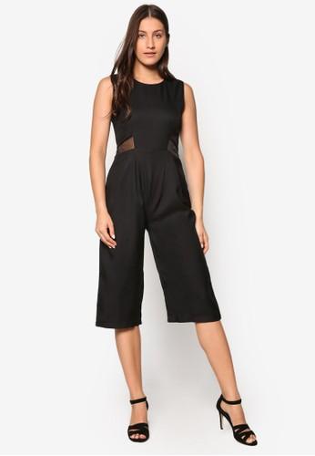 Agnes 基本款網紗拼接連身zalora 包包評價褲, 服飾, 連身褲