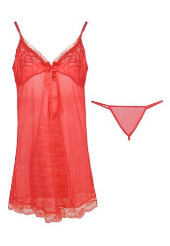 LAVABRA Intimates pink Sweet Lingerie - Helena French Lace Sweet  Babydoll Lingerie 2 pcs Set LA387US98SOBID_1