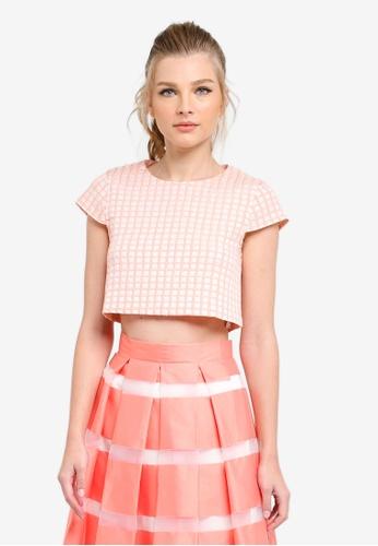 Vesper pink Daliah Jacquard Crop Top VE733AA0S79JMY_1