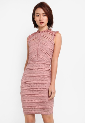 Lipsy pink Baked Pink All Over Lace Ruffle Dress 4FA3EAAAC858B5GS_1