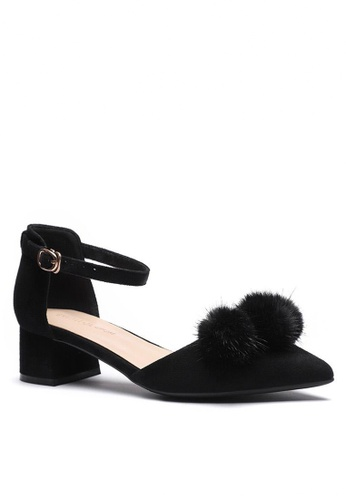 Twenty Eight Shoes black Fur Ball Strap Mid Heel 166-31 EC1ADSH484F061GS_1
