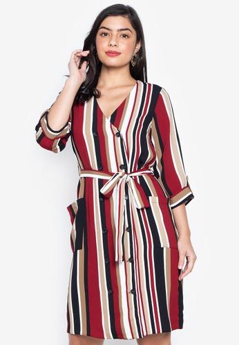 4b174a5929 Shop Dorothy Perkins Red Stripe Button Midi Dress Online on ZALORA ...