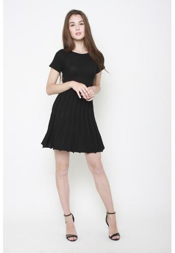 Sophialuv black Come Pleat Me Knit Dress 5CC59AA9212F72GS_1