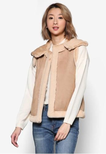 裝飾領仿麂esprit台灣outlet皮無袖外套, 服飾, 外套