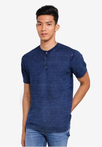 MANGO Man 藍色 短袖針織T恤 8BED7AA759FB38GS_1