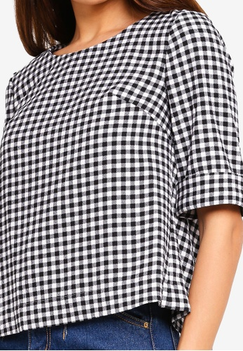 4e948e158357b Shop Hopeshow Loose Fit Checkered Blouse Online on ZALORA Philippines