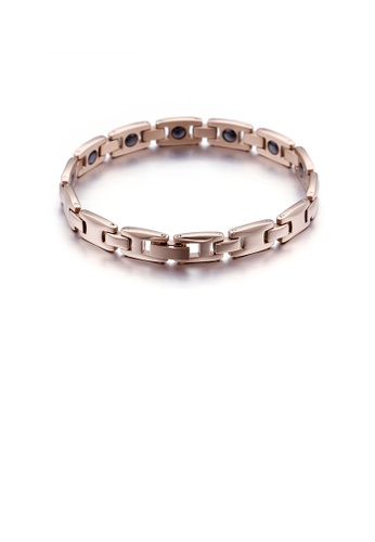 Glamorousky silver Fashion Simple Plated Rose Gold Geometric 316L Stainless Steel Bracelet 81018ACFBDFC37GS_1