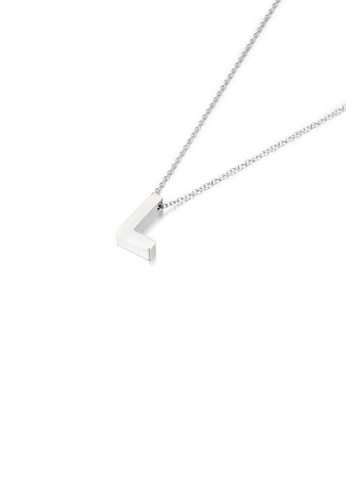 Glamorousky silver Simple Temperament English Alphabet L 316L Stainless Steel Pendant with Necklace E524EACDBFC1A0GS_1