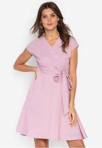 67e849a356f Krizia pink Asymmetric Tie-waist V neck Shirt Dress 69DFFAAE9282BBGS 1.  CLICK TO ZOOM