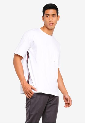 Sparrow Green 白色 條紋滾邊口袋T恤 38F15AA198B347GS_1