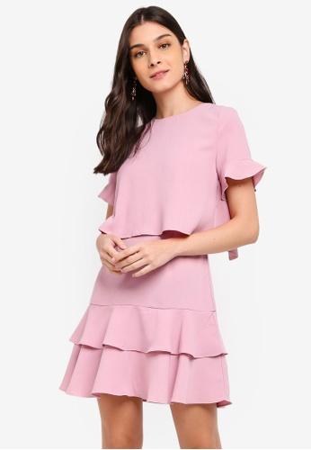 ZALORA pink Fit And Flare Layered Dress 66CBDAAD0CAAFDGS_1