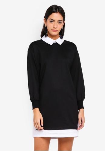 ZALORA black Mixed Fabric Sweatshirt Dress A7271AAF7C362FGS_1