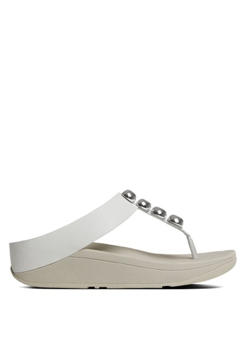 FitFlop white Rola Toe-Post Sandals FI522SH85SDAMY_1