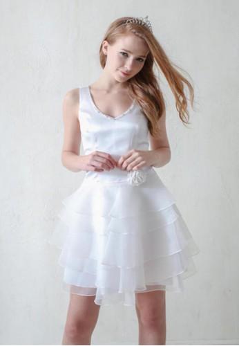紐約Party甜心V領背esprit tote bag心式澎紗蛋糕裙小禮服, 服飾, 派對洋裝