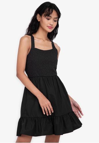 ZALORA BASICS black Square Neck Eyelet Mini Dress BB71BAA439BA04GS_1