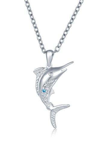 MBLife silver 925 Sterling Silver Blue CZ Dolphin Necklace 26FF2ACF877747GS_1