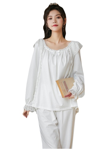 LYCKA white LML1321-Lady Casual Pajamas Two Pieces Set-White 9B322AAD451214GS_1