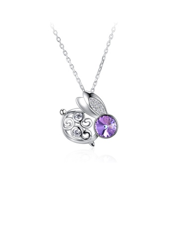 Glamorousky white 925 Sterling Silver Fashion Cute Rabbit Pendant with Purple Austrian Element Crystal and Necklace E977EAC9EB3E18GS_1