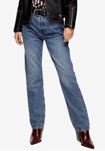 TOPSHOP blue Mid Blue Dad Jeans 38630AAC2A3CD9GS_1