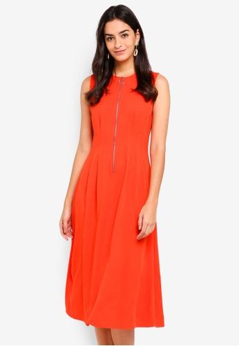 WAREHOUSE orange Zip Pleat Dress AB8C5AA7517A20GS_1