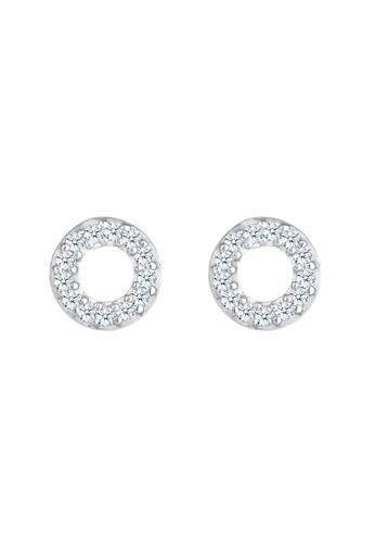 ELLI GERMANY white Diamond Ear Studs Circle Earrings F5E23AC4B2A128GS_1