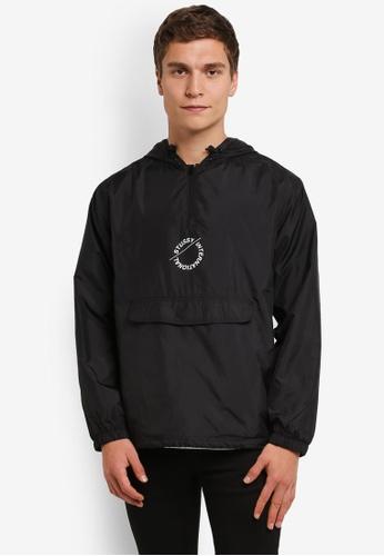 Stussy black Nylon Pop Over Jacket ST135AA0ROKOMY_1